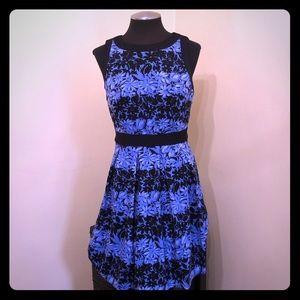 Elle - Blue Sleeveless Floral Dress